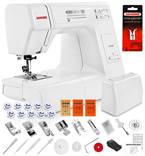 Janome HD3000 Heavy Duty Sewing Machine with Hard Case, Ultra Glide Foot, Blind Hem Foot, Overedge Foot, Rolled Hem Foot, Zipper Foot, Buttonhole Foot, Leather and Universal Needles and more