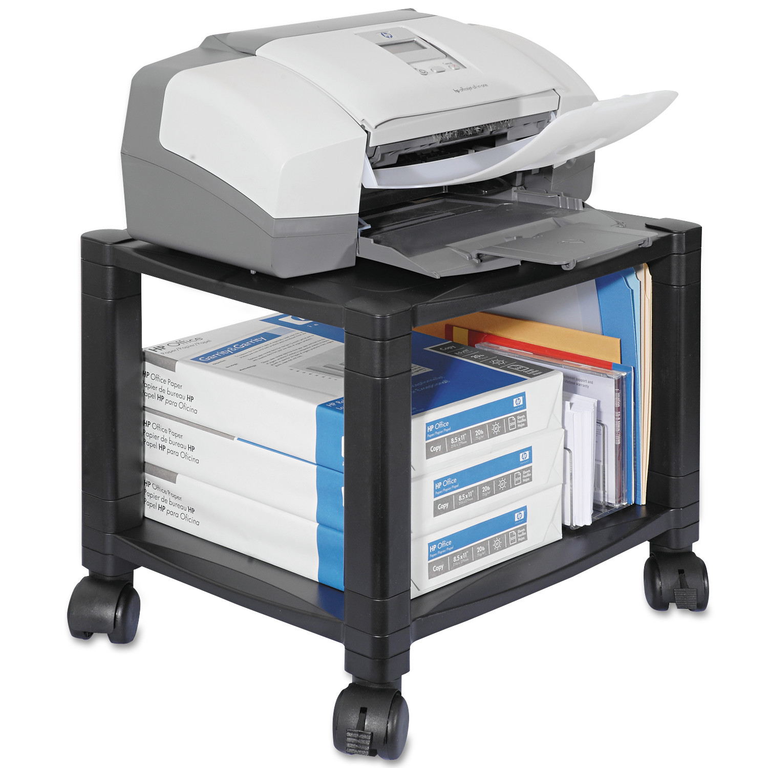Kantek Mobile Printer Stand, Two-Shelf, 17w x 13-1/4d x 14-1/8h ...