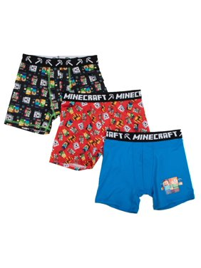 Microsoft Minecraft, Boys Underwear, 3 Pack Underoos Poly Boxer Briefs (Little Boys & Big Boys)