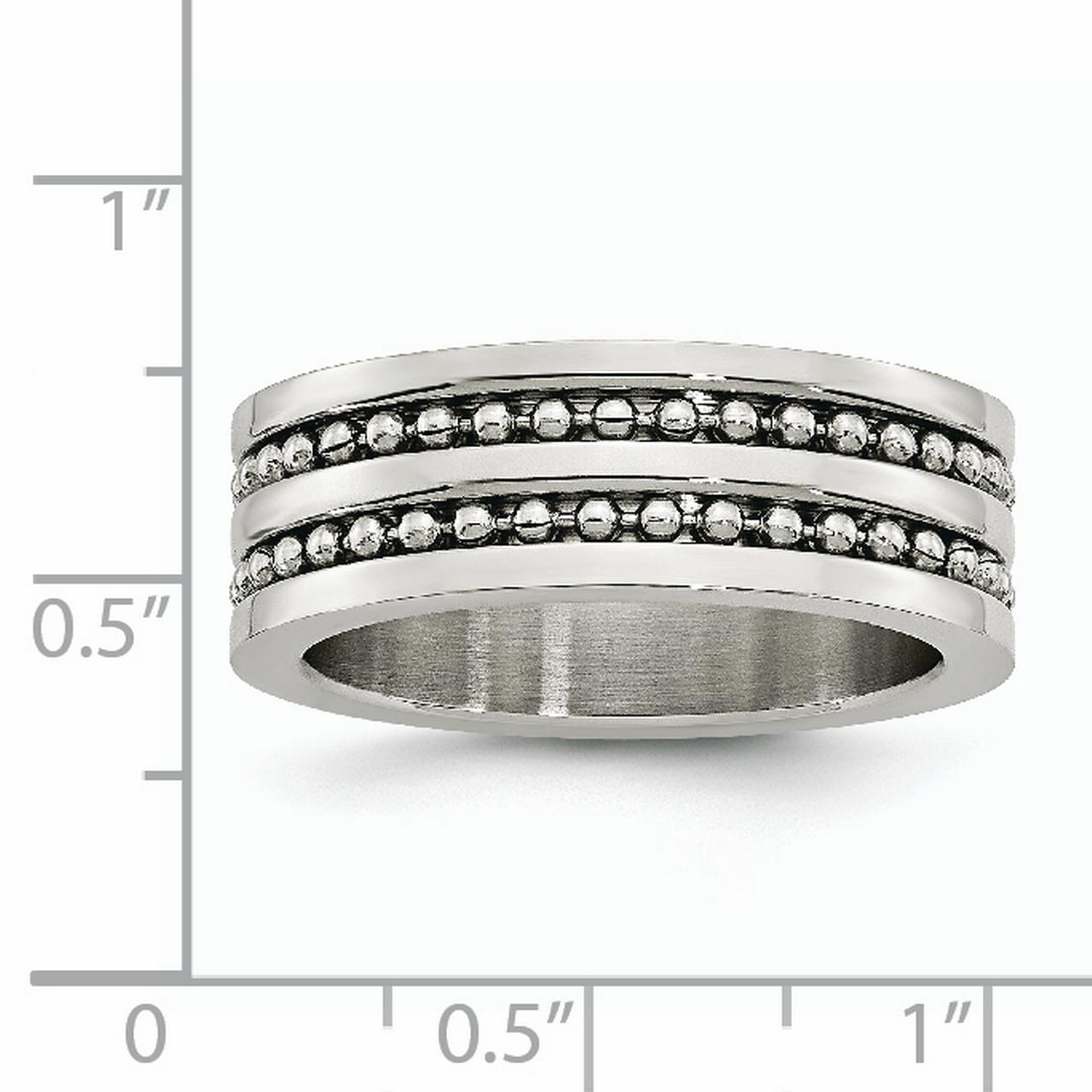 Stainless Steel 8mm Double Row Beaded Brushed Wedding Ring Band Size 11.50 Type Of Fashion Jewelry Gifts For Women For Her - image 2 of 6