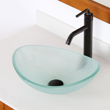 - Elite  1416 Unique Oval Frosted Tempered Glass Bathroom Vessel Sink