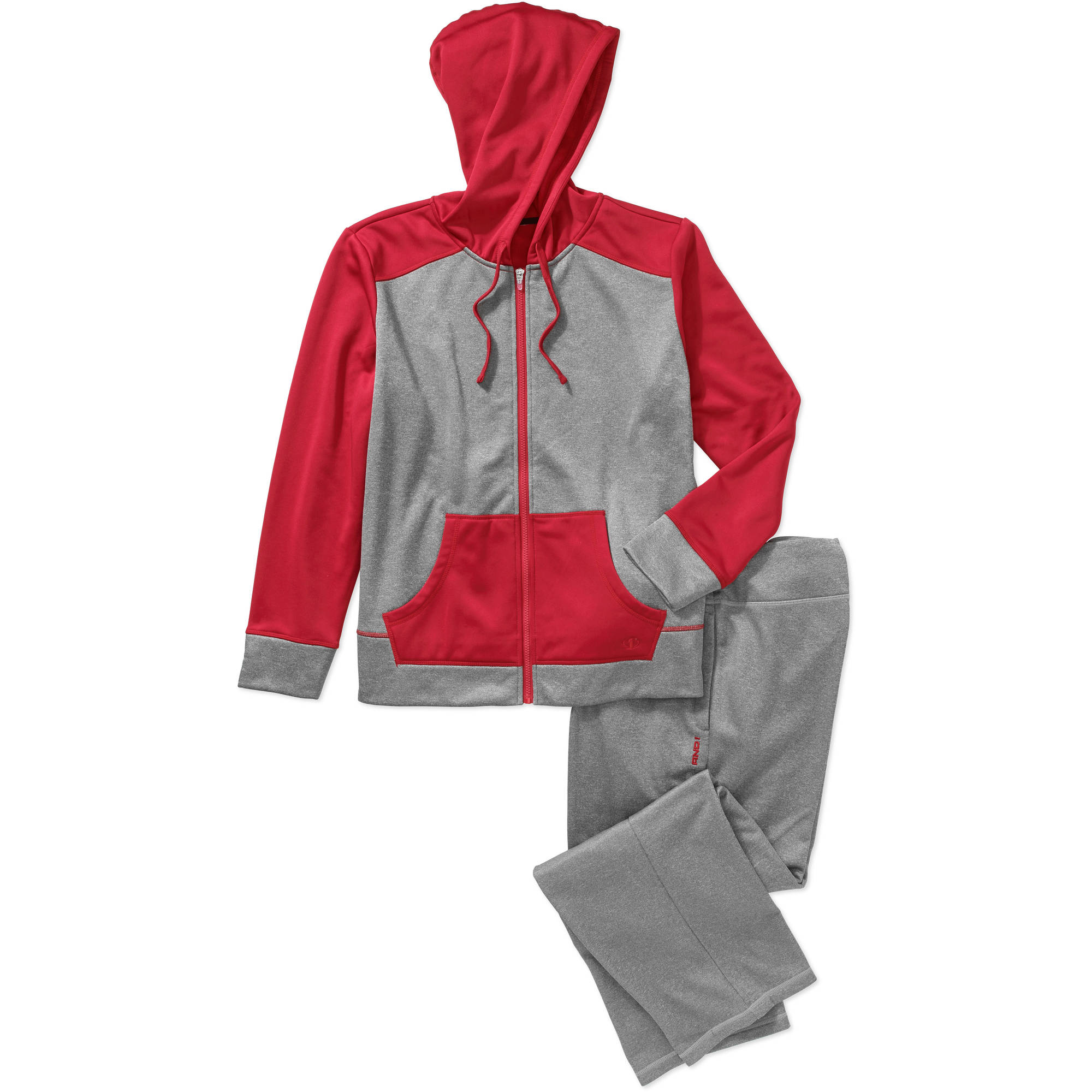 AND1 Women's Plus-Size Color Block Zip Front Set