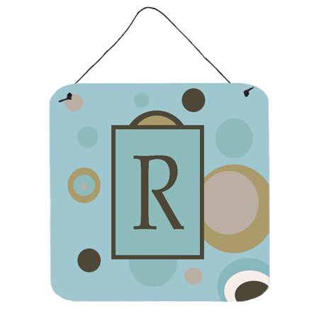 - Letter R Initial Monogram - Blue Dots Wall or Door Hanging Prints