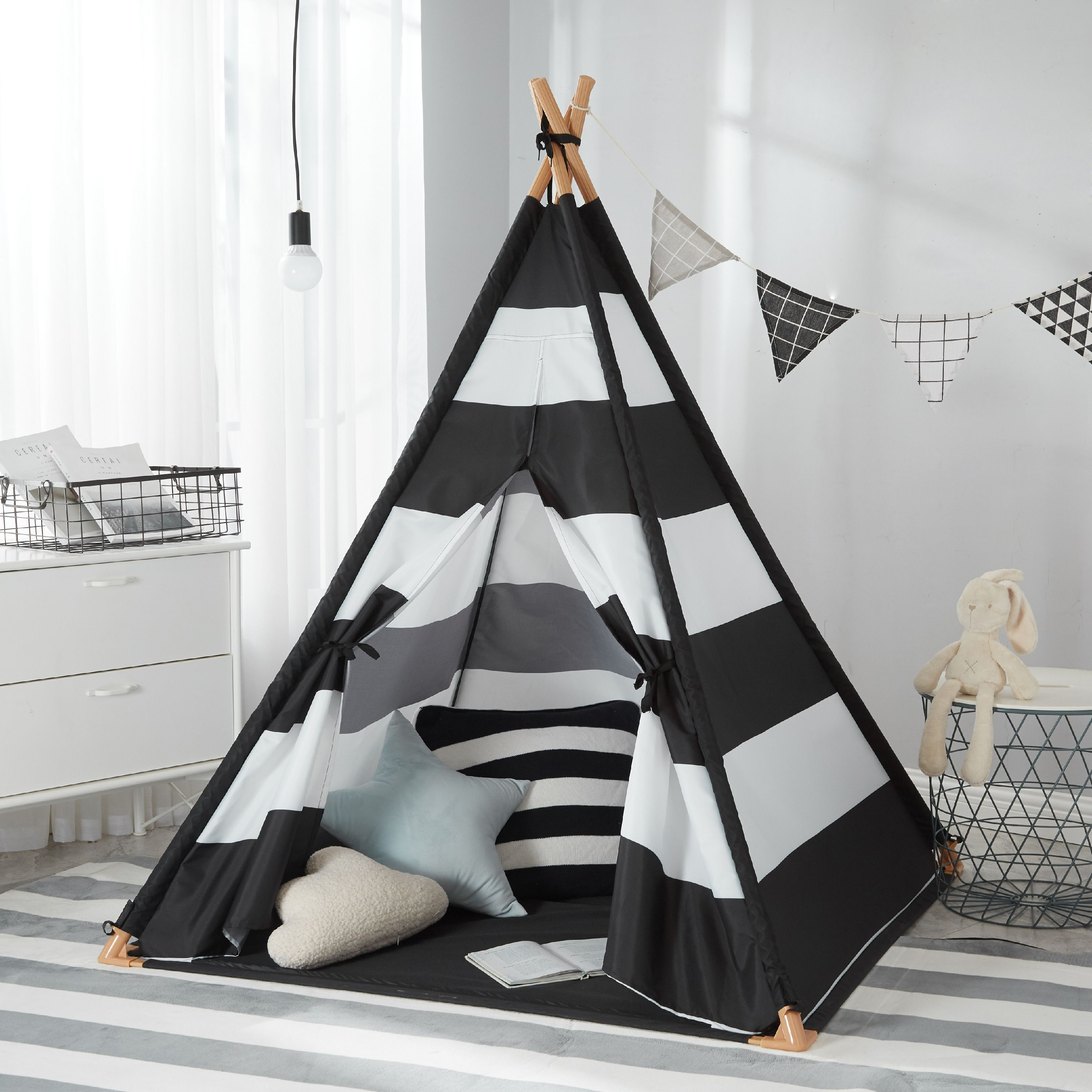 """Kids Tepee Tent All Over Printed, 59""""(H), Multiple Prints"""