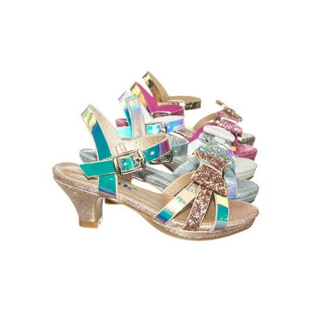 (Smart79K by Forever Link, Children Girl Low Heel Glitter Metallic Sandal w Bow & Ankle Strap)