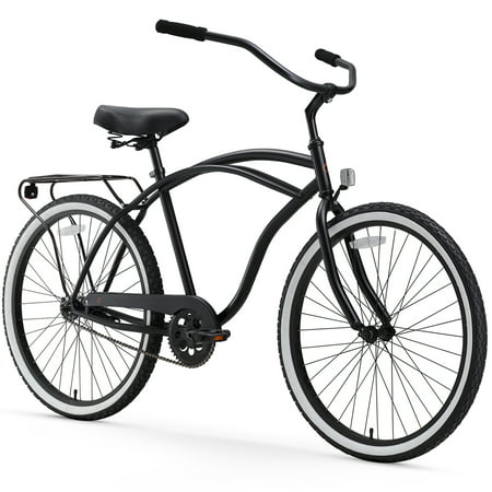 sixthreezero Around the Block Mens Single Speed Beach Cruiser Bicycle with Rear Rack, 26u0022 Wheels, Matte Black
