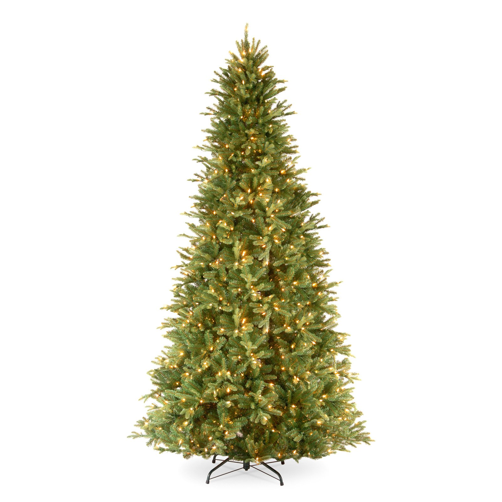 National Tree Pre-Lit 9' Feel-Real Tiffany Fir Slim Hinged Artificial Christmas Tree with 800 Clear Lights
