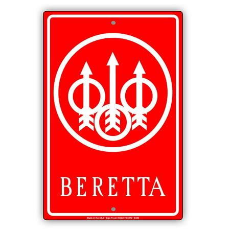 BERETTA Firearms Logo Gun Targets With Arrow Graphic Alert Aluminum Metal Sign