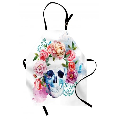 Skull Apron Funny Skull with Colorful Floral Head Victorian Style Dead Skeleton Graphic Art Print, Unisex Kitchen Bib Apron with Adjustable Neck for Cooking Baking Gardening, Multicolor, by - Colorful Skeleton