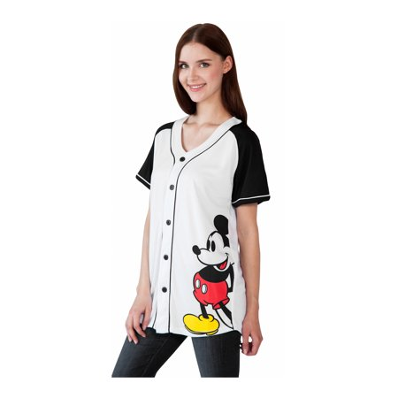cae97f8f09 Disney - Women s Mickey Mouse Jersey Shirt White - Button Down - Walmart.com