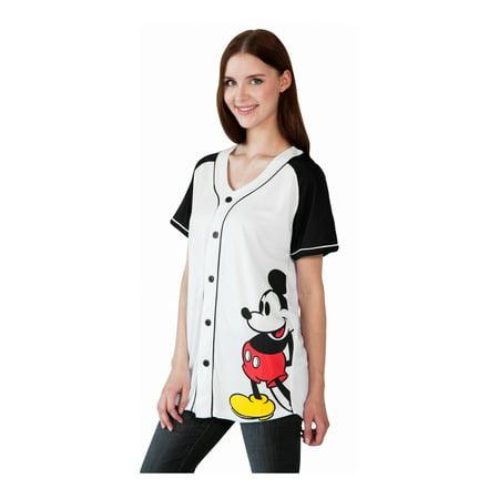 Women's Mickey Mouse Baseball Jersey Shirt White Button Down