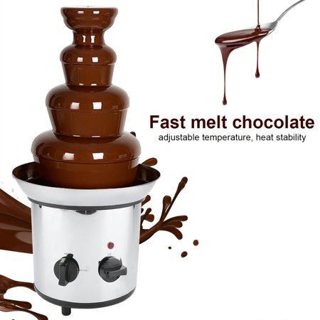 Chocolate Melting Machine 4 Tiers Electric Chocolate Melting Machine Fondue Maker Fountain for Shopping Mall, Hotel, Western Restaurant,