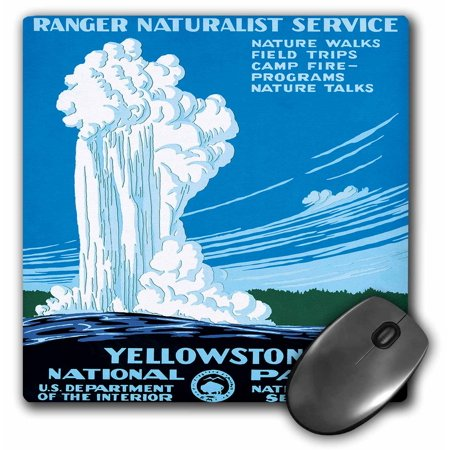 3Drose Ranger Naturalist Service Yellowstone L Park  Us Dept Of Interior  Mouse Pad  8 By 8 Inches