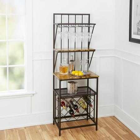 Faux Marble Shelf Baker S Rack With Wine Bottle Storage