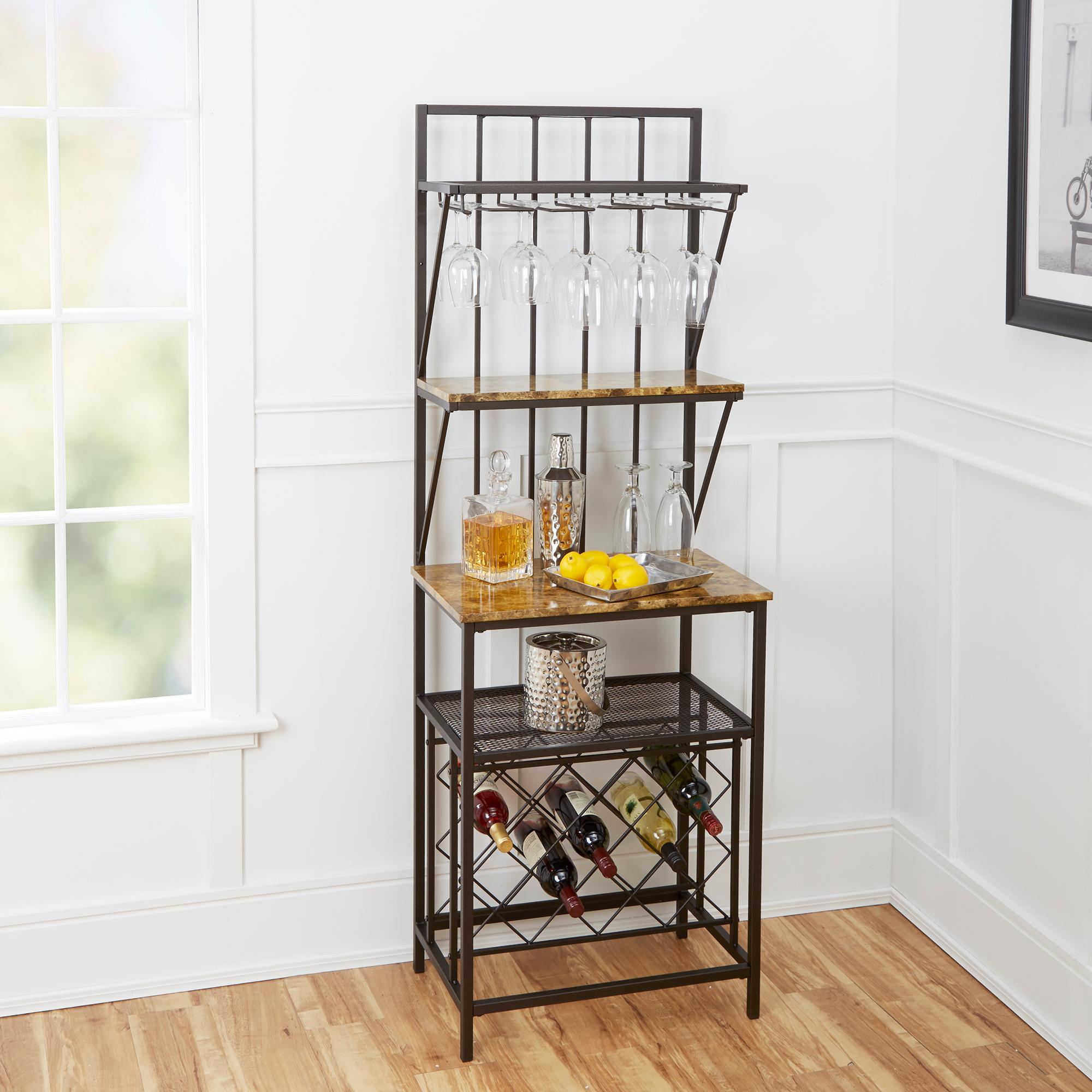 Faux Marble Shelf Baker's Rack with Wine Bottle Storage