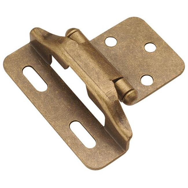 Hickory Hardware P60010F-AB Antique Brass Semi-Concealed 0. 25 inch Overlay Hinge 2-Pack