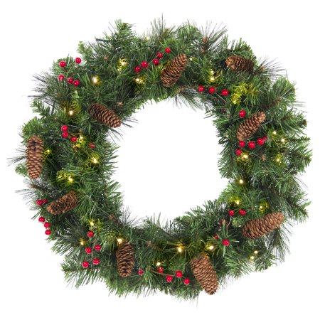 Best Choice Products 24in Pre-Lit Cordless Artificial Spruce Christmas Wreath w/ 50 LED Lights, Silver Bristles, Pine Cones, Berries - Green - Halloween Paper Cone Wreath