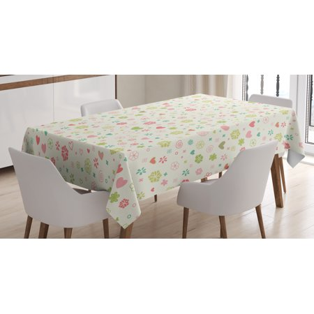 Baby Tablecloth, Romantic Blooming Flowers Hearts Vintage Colors Valentines Day, Rectangular Table Cover for Dining Room Kitchen, 60 X 84 Inches, Pale Green Pale Pink Avocado Green, by Ambesonne