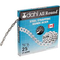 - DAHL 9010 Pipe Strap, 110 lb Capacity, 25 ft OAL, 1/2 in OAW, Steel 20 Pack