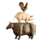 San Pacific International 15.5H in. American Folk Art Chicken / Pig / Cow Trio Statue - Set of 3