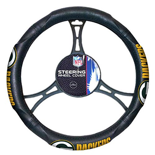 A Set of 2 Universal-Fit NFL Front Bucket Seat Covers and Comfort Grip Steering Wheel Cover - Green Bay Packers