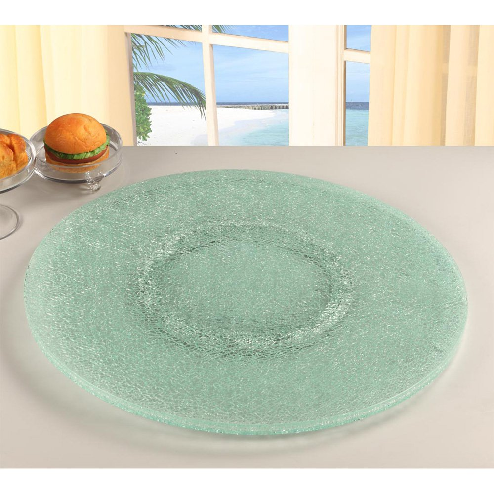 Chintaly 24 in. Sandwich Glass Lazy Susan - Clear