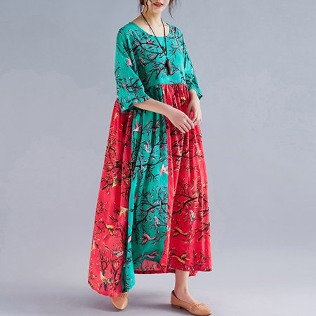 Women Dress Colorful Floral Birds Print Splicing High Waist Pleated Half Sleeve Swing Vacation Wear Multicolor - image 2 of 7