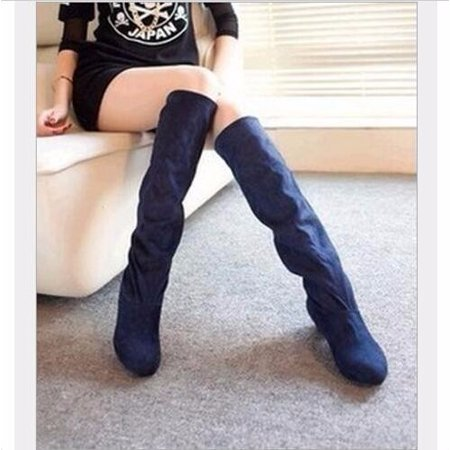 New Women Thigh High Heel Over Knee Suede Stretch Slouch Warm Winter Boots Shoes - Stretch Lycra Thigh High Boots