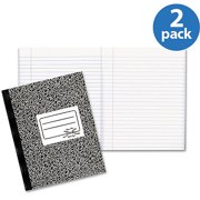 (2 Pack) National Composition Book, Wide/Margin Rule, 10 x 7 7/8, White, 80 Sheets -RED43460