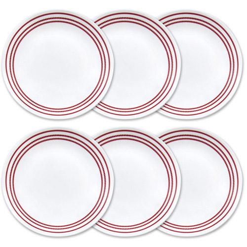 "Corelle Livingware 8.5"" Lunch Plate, Ruby Red, Set of 6"