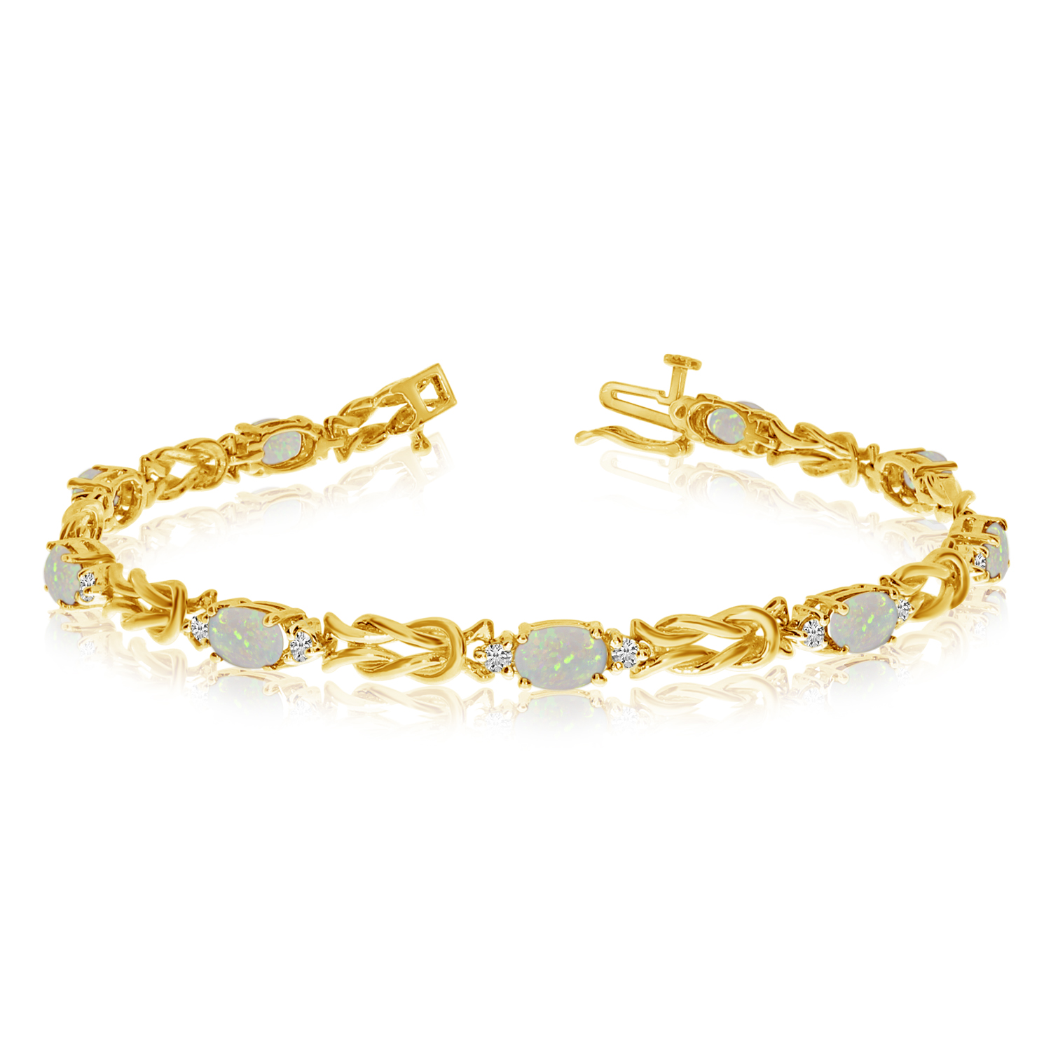 14k Yellow Gold Natural Opal And Diamond Tennis Bracelet by LCD