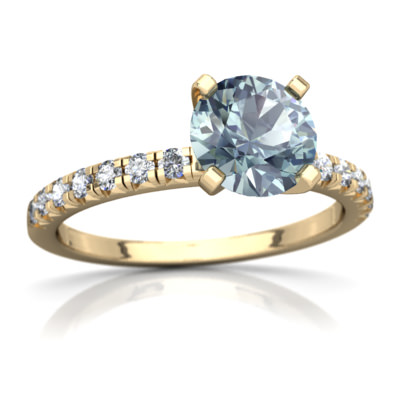 Aquamarine Petite Pavé Ring in 14K Yellow Gold by