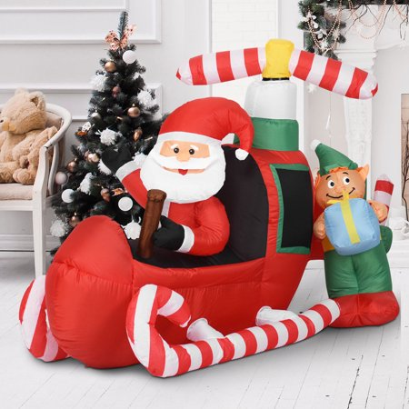 Costway 6' Christmas Decoration Inflatable Santa Claus Flying Airplane Lighted Outdoor ()