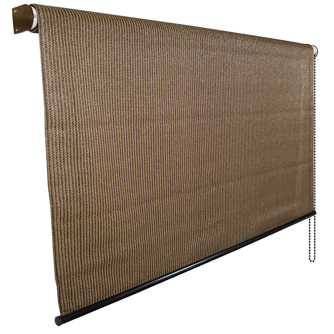 Cool A Roo 474768 6' X 6' Mocha Knitted Rolled Shade With UV Block