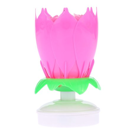 Musical Candle Lotus Flower Rotating Candles Light Happy Birthday Party Gift (1 pack) Pink - Flashing Happy Birthday