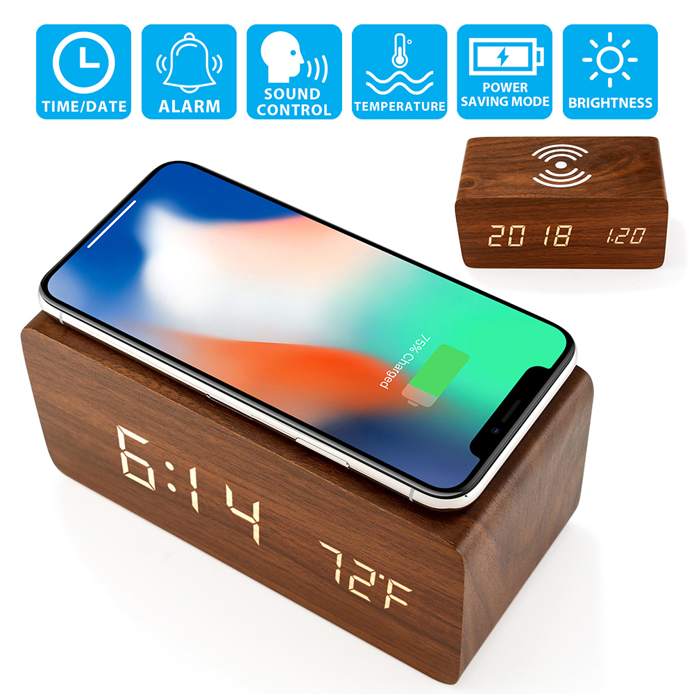 Wooden Wood Alarm Clock Qi Wireless Charging LED Sound Control Time Date Temperature - Wood