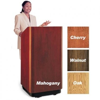 "Da-Lite School Office Conference Room Presentation Concord Lectern 32"" Floor Standing Podium With Sound System and Height Adjustment Standard Laminate"