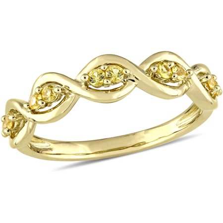 1/4 Carat T.G.W. Yellow Sapphire 14kt Yellow Gold Stackable Infinity Ring