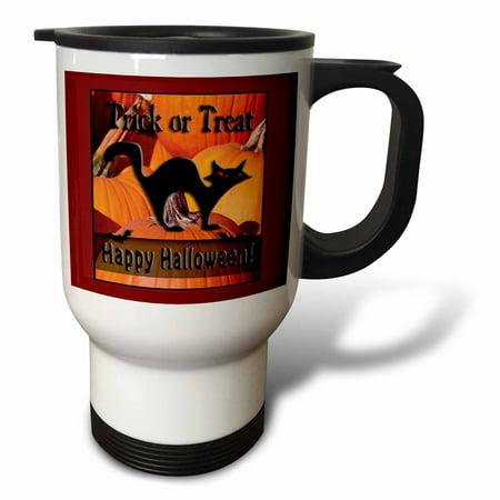 Happy Halloween Travel (3dRose Black Cat on Pumpkins Trick or Treat Happy Halloween, Travel Mug, 14oz, Stainless)