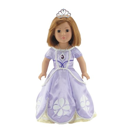Emily Rose 18 Inch Doll Clothes | 4-Piece Princess Sofia Dress Outfit with Sparkling Crown, Necklace and Matching Shoes | Fits American Girl Dolls