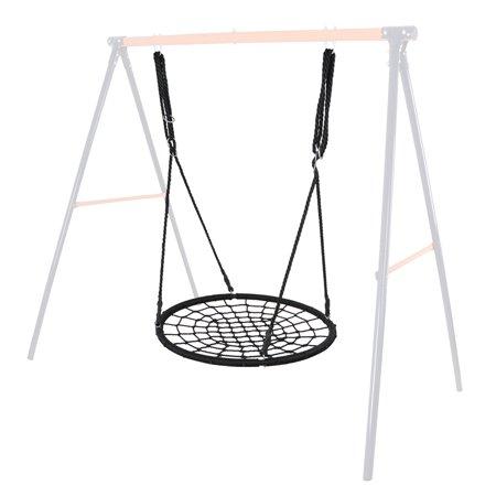 "Zeny 24"" Outdoor Kids Round Rope Tire Tree Web Net Outdoor Swing Nest 220lbs Black"