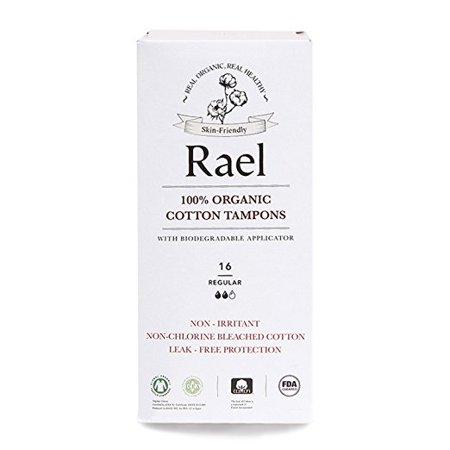 - Rael 100% Organic Cotton Chlorine Free Tampons, Regular, 16 Count