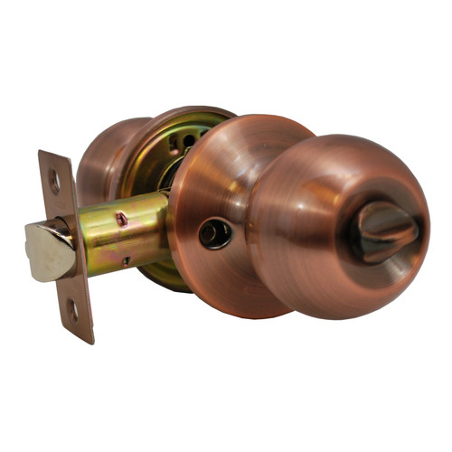 Constructor Chronos Privacy Door Knob Handle Lock Set for Bedroom and Bathroom Antique Copper Finish