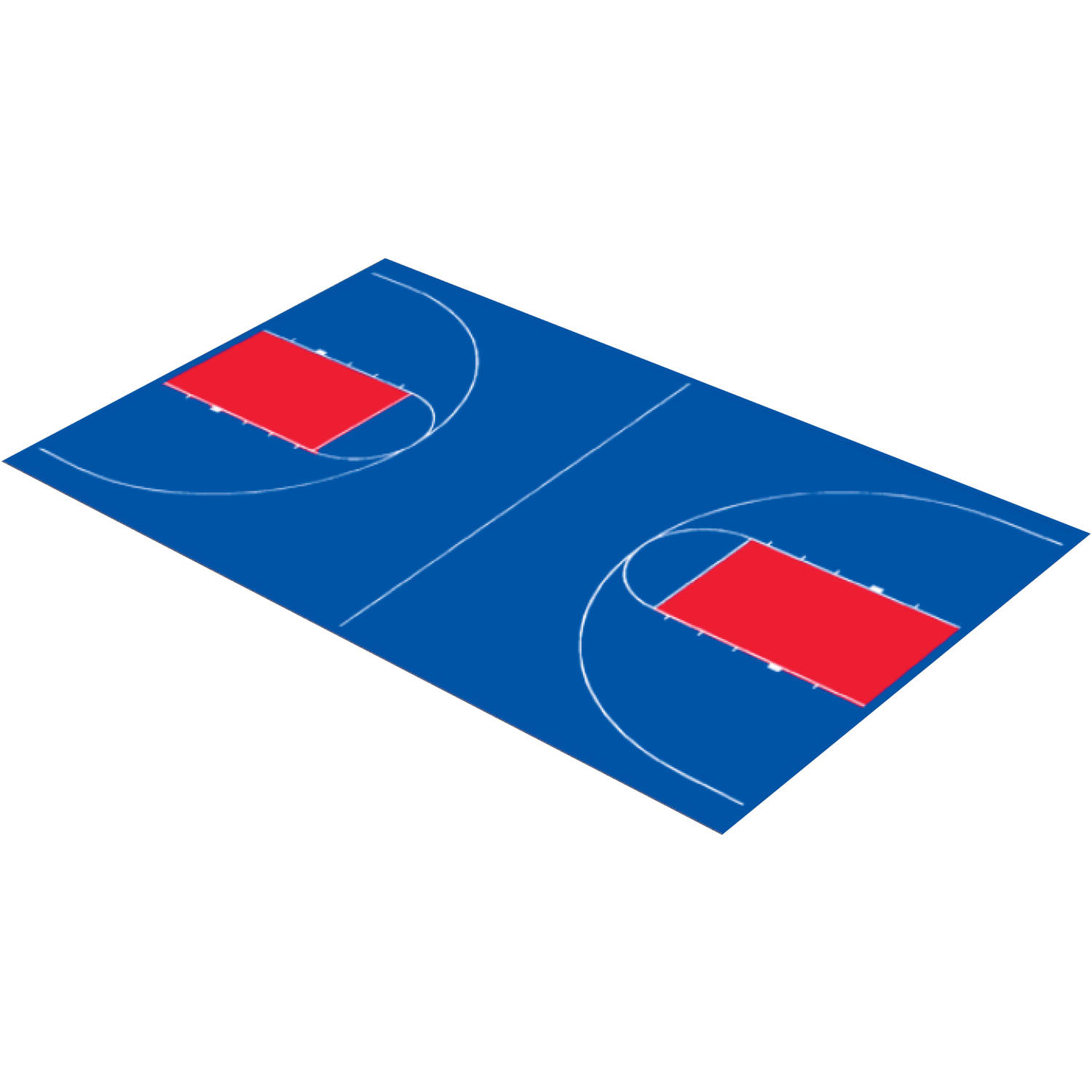 """DuraPlay Full Court Basketball Kit, 44'3"""" x 75'6"""", Royal Blue and Red"""