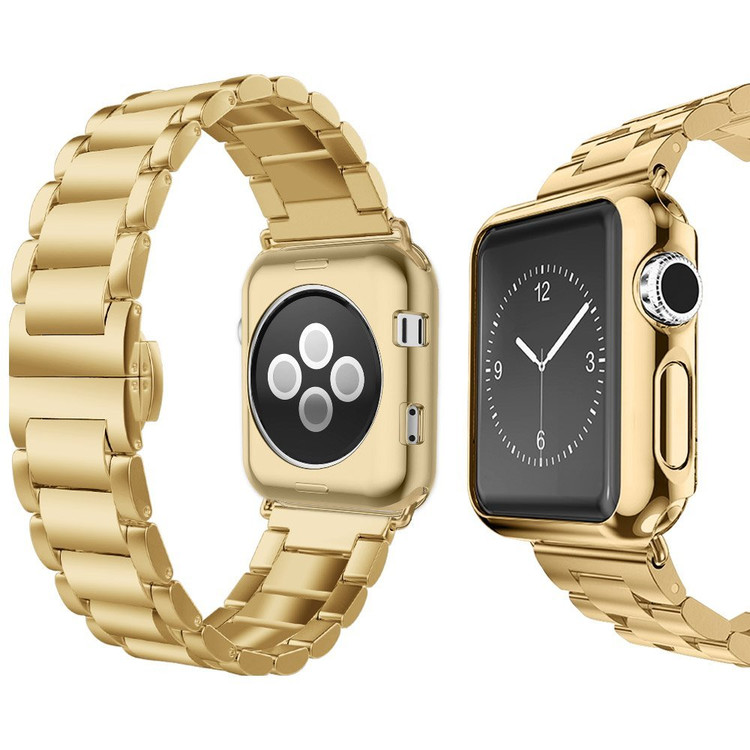 UMTELE Apple Watch Band 42mm Super Slim Stainless Steel Band Metal Strap with Butterfly Clasp for Apple Watch Series 1, Series 2, Series 3, Gold
