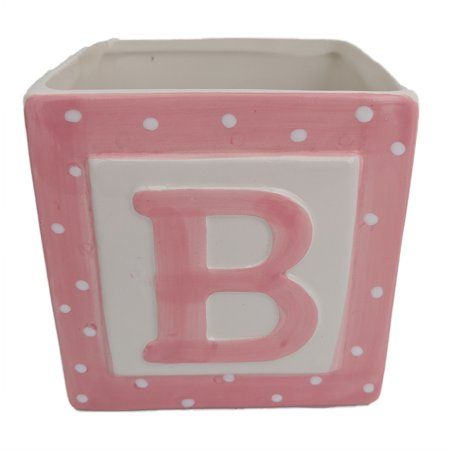 Pink Baby Block Ceramic Planter - 3.75