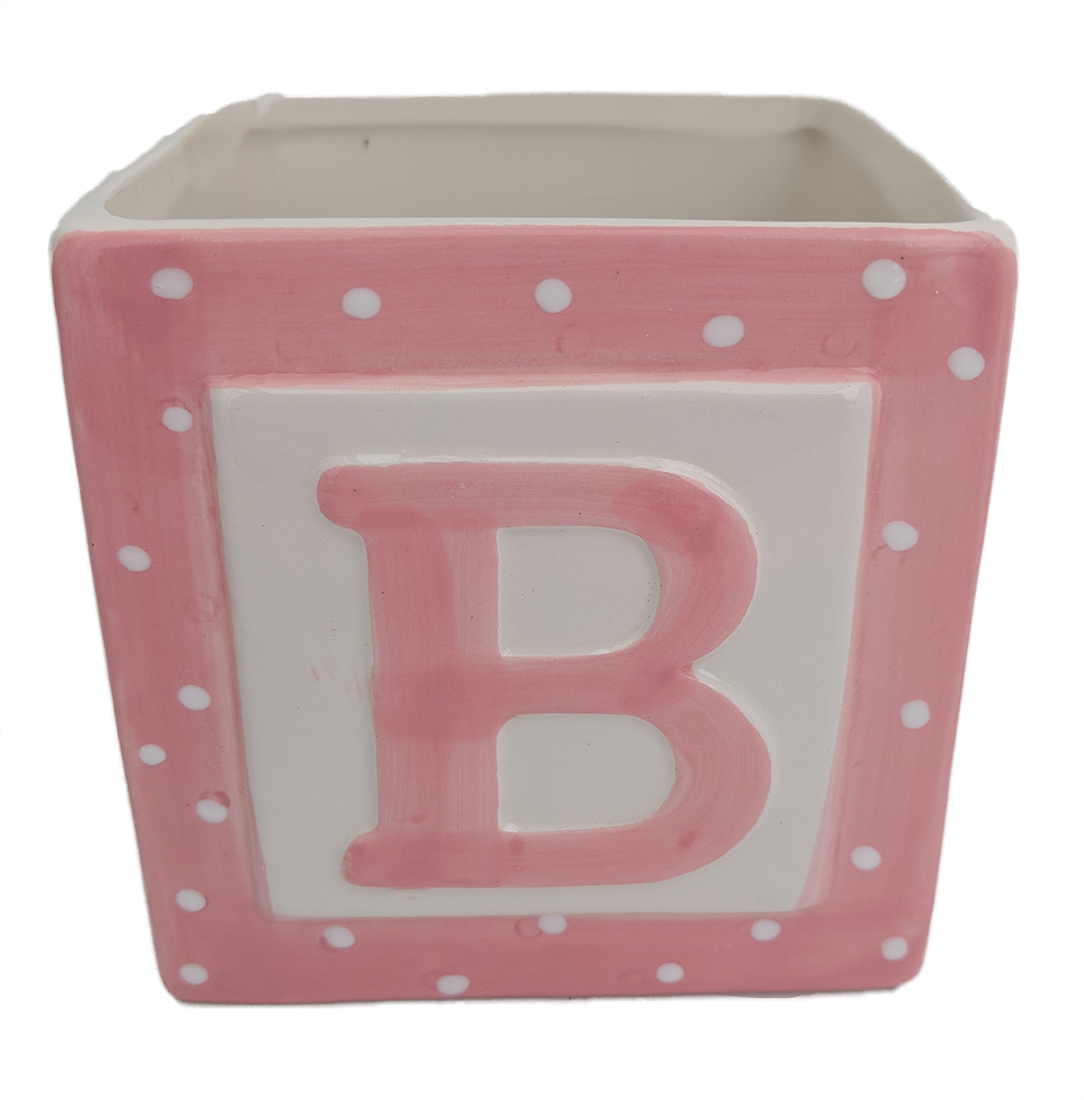 "Pink Baby Block Ceramic Planter - 3.75"" x 3.75"