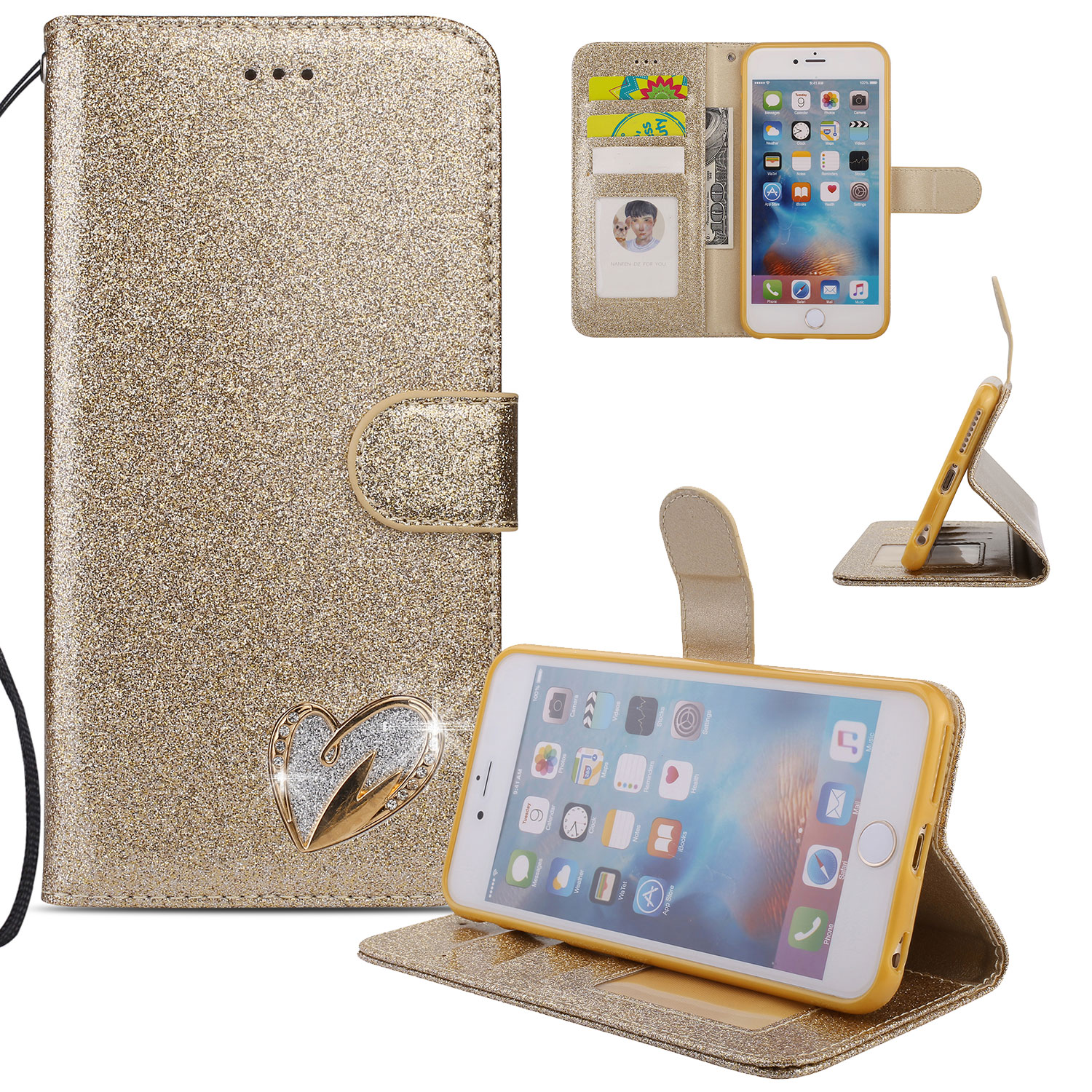 iPhone 6S Plus Case Wallet, iPhone 6 Plus Case, Allytech Glitter Folio Kickstand with Wristlet Lanyard Shiny Sparkle Luxury Bling Card Slots Slim Cover for Apple iPhone 6 Plus/ 6S Plus (Gold)