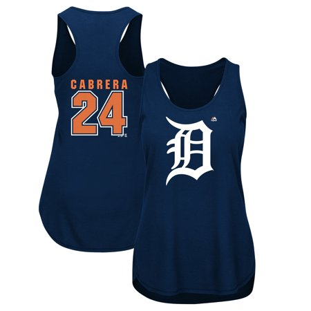 Miguel Cabrera Detroit Tigers Majestic Women's Plus Size Player Tank Top - Navy ()