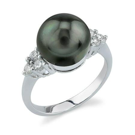 10mm Tahitian South Sea Cultured Pearl & Diamond Sea Breeze Ring in 14K Gold Diamonds 10mm Tahitian Pearl Ring